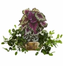 Begonia & Stephanotis Artificial Plant in Decorative Planter - N/A