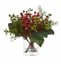 Berry, Pine and Boxwood Artificial Arrangement - N/A