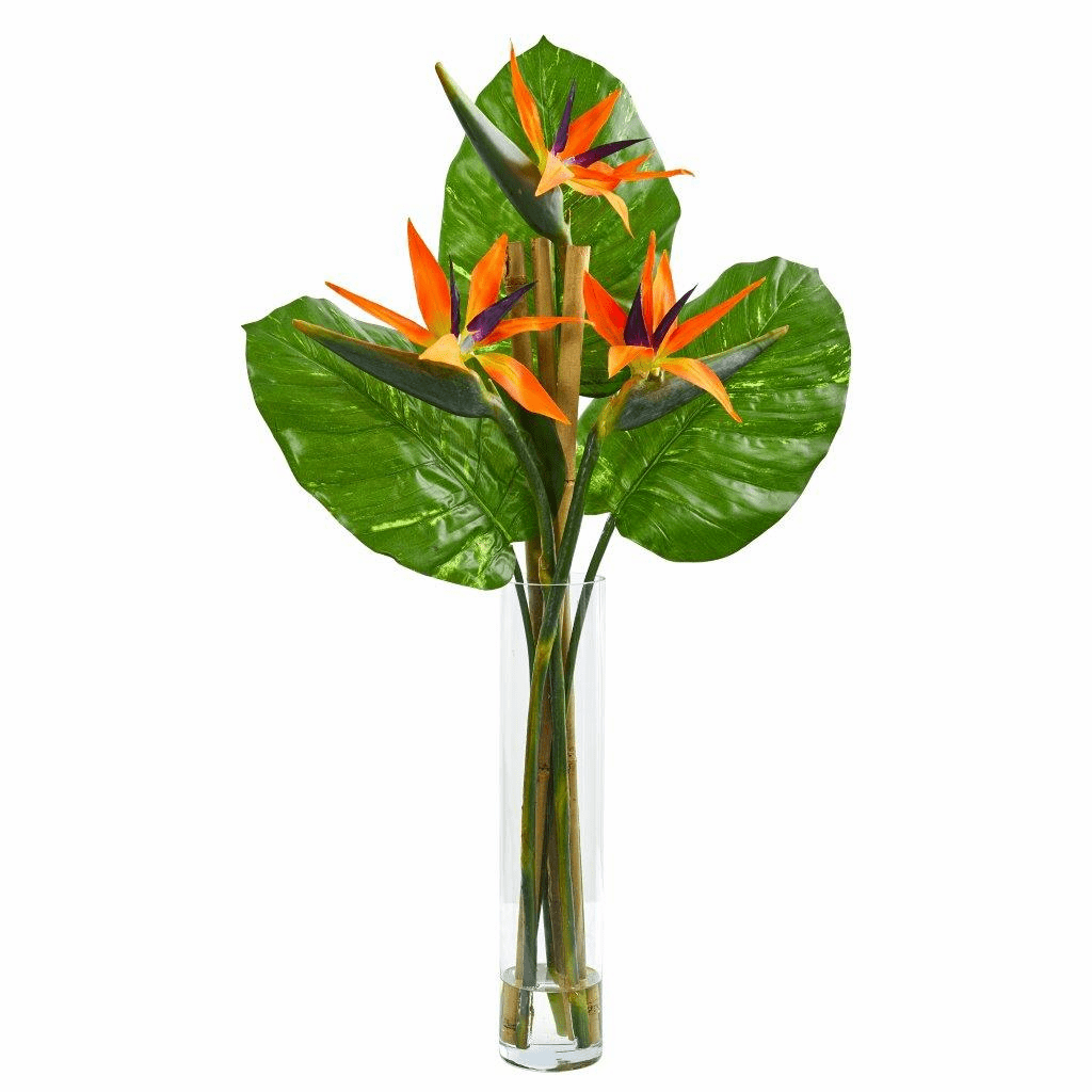 "38"" Bird of Paradise Artificial Arrangement in Cylinder Vase"