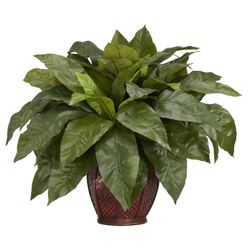"23"" Birdsnest Fern with Decorative Vase Silk Plant"