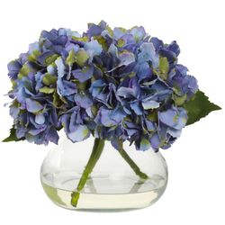 "8.5"" Blooming Hydrangea in Vase - Blue Color"