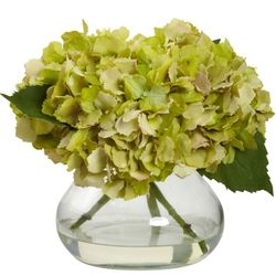 """8.5"""" Blooming Hydrangea with Vase - Green"""