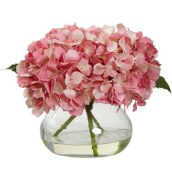 """8.5"""" Blooming Hydrangea with Vase - Pink"""