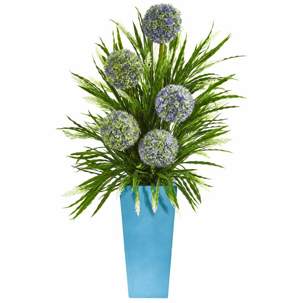 3� Ball Flower & Grass Artificial Arrangement in Planter - Blue