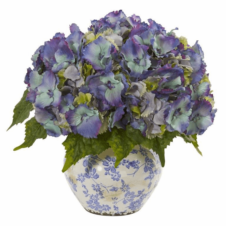 "14"" Blue Hydrangea Artificial Arrangement in Floral Design Vase"