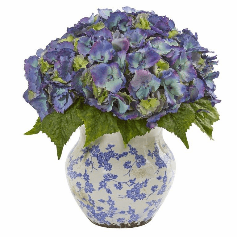 "19"" Blue Hydrangea Artificial Arrangement in Large Floral Vase"