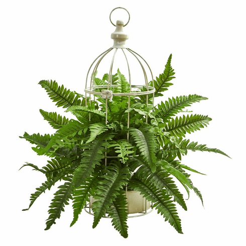 "19"" Boston Fern Artificial Plant in Decorative Cage"