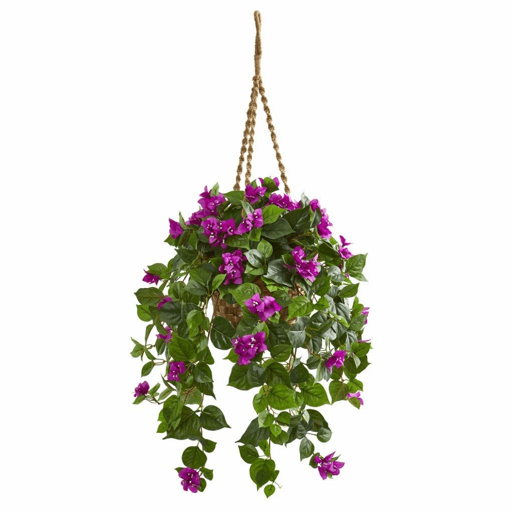 "28"" Bougainvillea Artificial Plant in Hanging Basket"