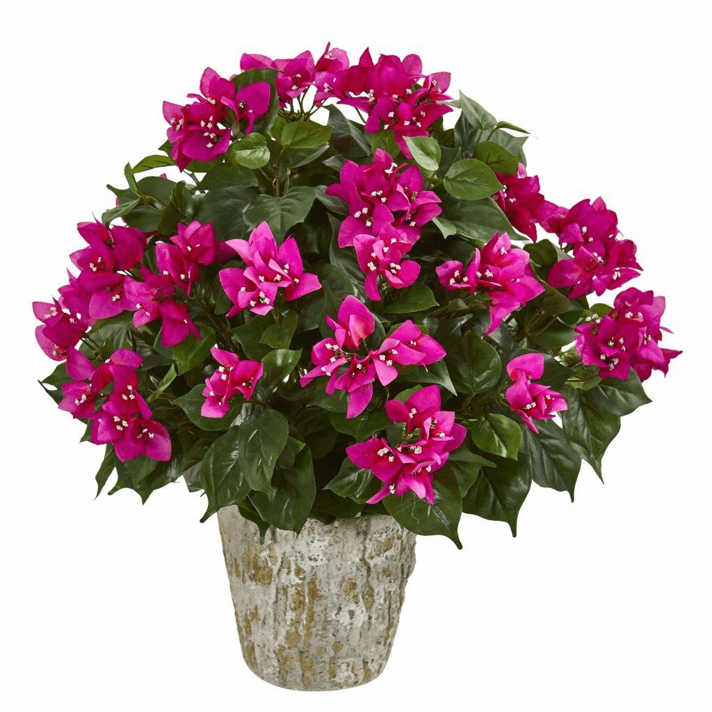 "21"" Bougainvillea Artificial Plant in Weathered Oak Planter"