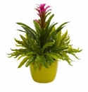 """18"""" Bromeliad and Fern Artificial Plant in Green Vase - Purple"""