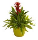 """18"""" Bromeliad and Fern Artificial Plant in Green Vase - Red"""