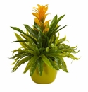 """18"""" Bromeliad and Fern Artificial Plant in Green Vase - Yellow"""
