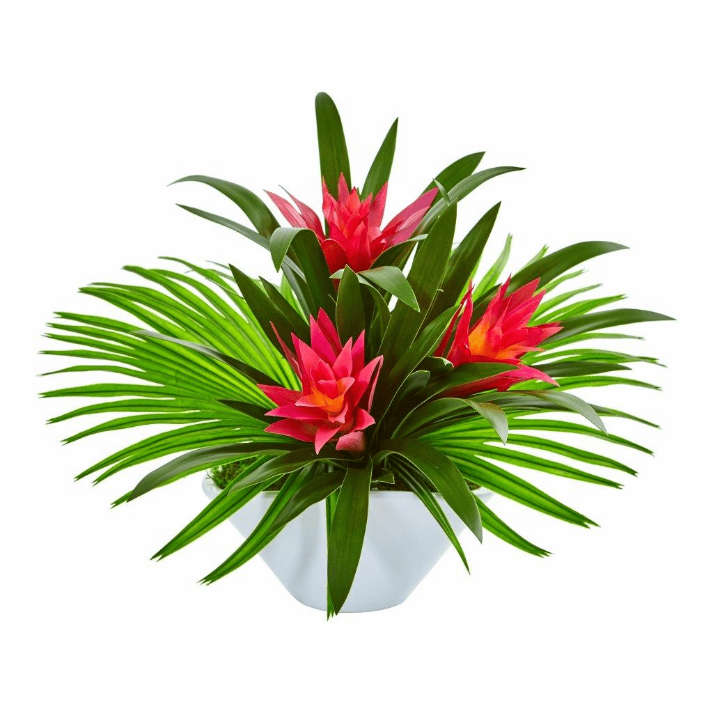 "20"" Bromeliad Artificial Arrangement in Oval White Vase"