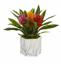 """11"""" Bromeliad Artificial Plant in Marble Finished Vase - Assorted"""