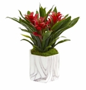 """11"""" Bromeliad Artificial Plant in Marble Finished Vase - Red"""