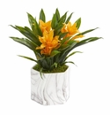 """11"""" Bromeliad Artificial Plant in Marble Finished Vase - Yellow"""