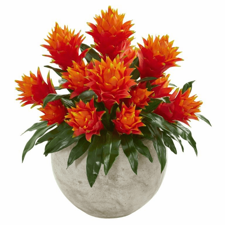 "22"" Bromeliad Artificial Plant in Sandstone Bowl"