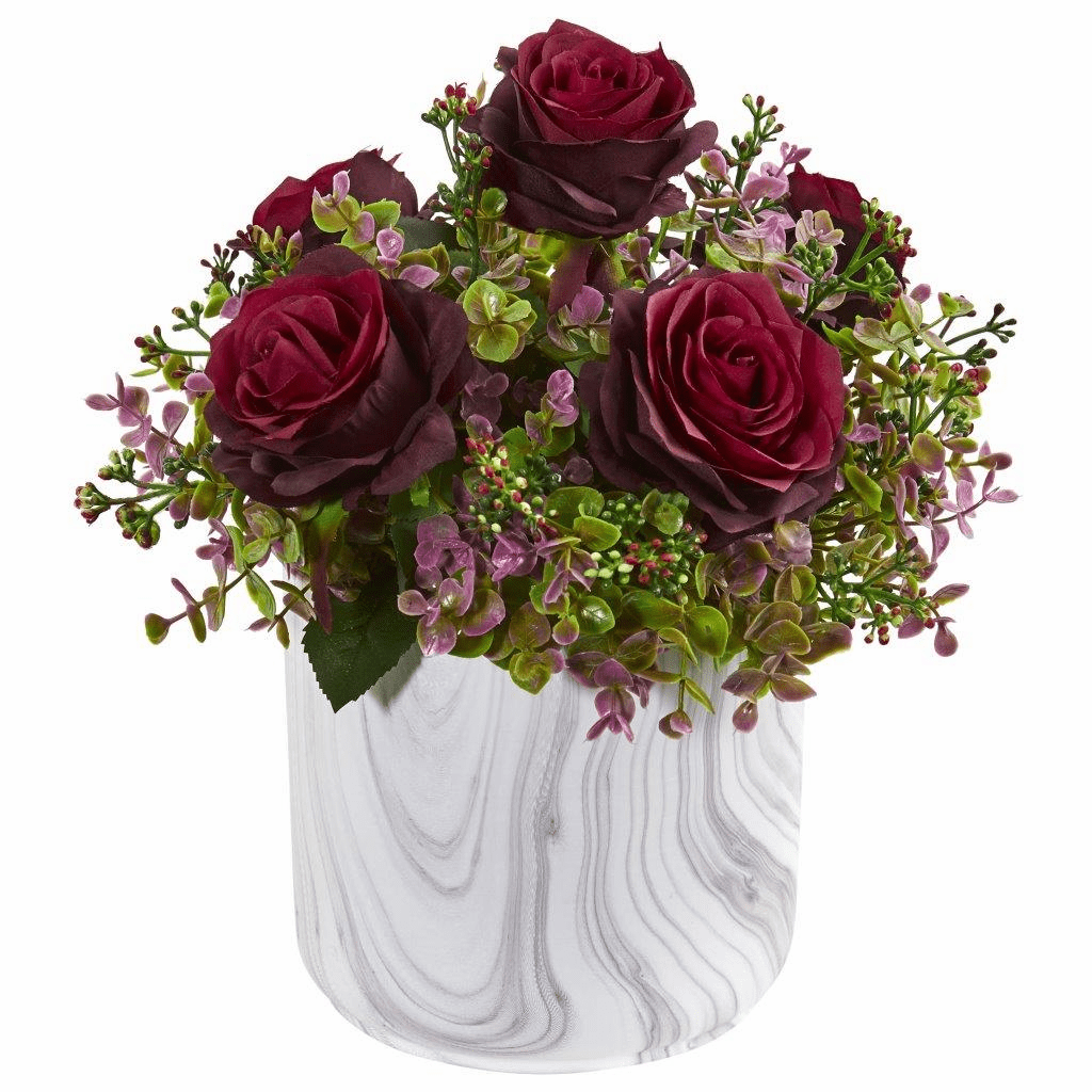 13� Burgundy Roses & Eucalyptus Artificial Arrangement in Marble Finished Vase