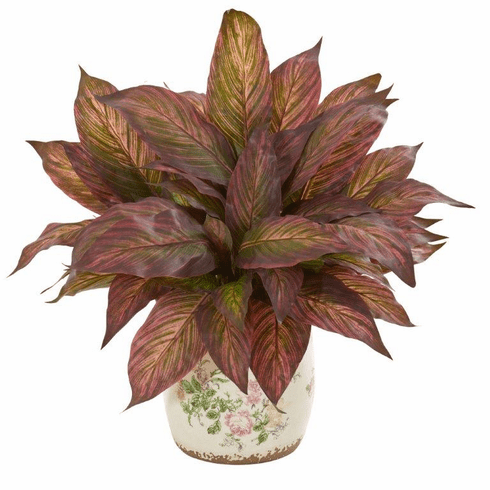 """21"""" Burgundy Musa Artificial Plant in Floral Print Vase"""