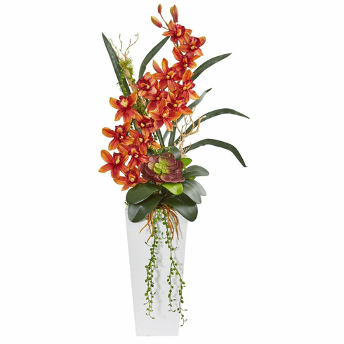 3' Burgundy Cymbidium Orchid and Succulent Artificial Arrangement