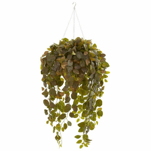 4.5' Burgundy Fittonia Artificial Plant in Hanging Cone Basket (Real Touch)