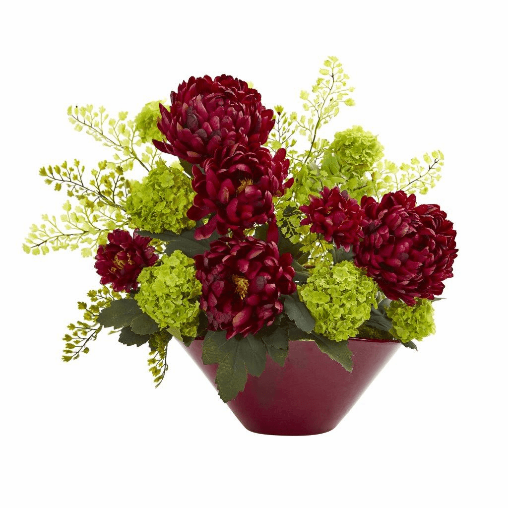 "14"" Burgundy Mums & Hydrangeas Artificial Arrangement in Red Vase"