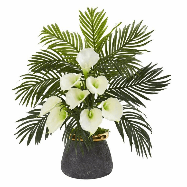 "25"" Calla Lilly and Areca Palm Artificial Arrangement in Stoneware Vase - Cream"