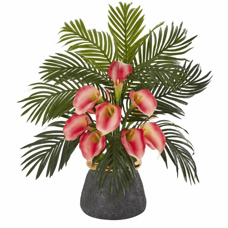 "25"" Calla Lilly and Areca Palm Artificial Arrangement in Stoneware Vase - Pink"