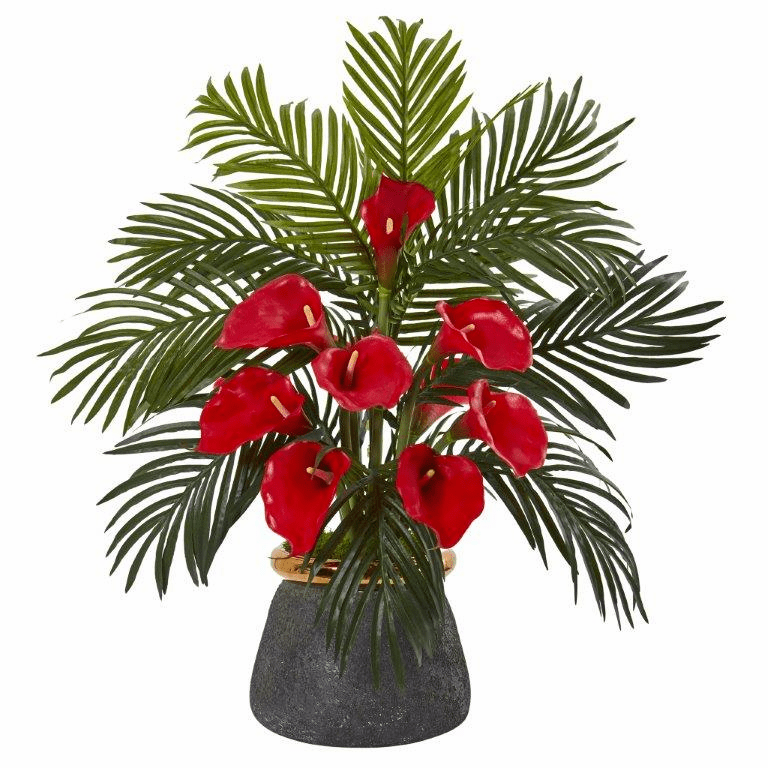 "25"" Calla Lilly and Areca Palm Artificial Arrangement in Stoneware Vase - Red"