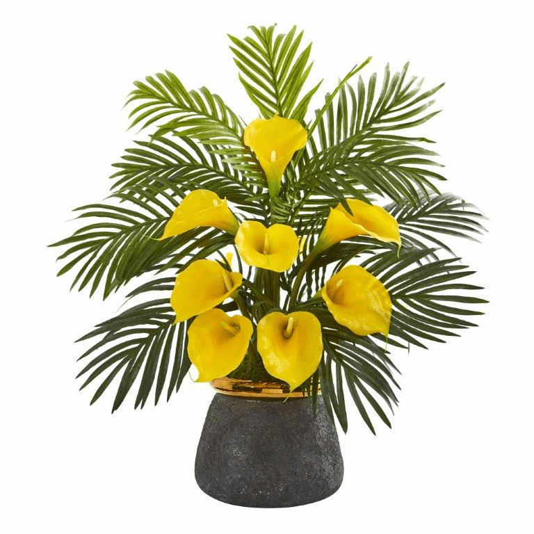"25"" Calla Lilly and Areca Palm Artificial Arrangement in Stoneware Vase - Yellow"
