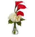 Calla Lily and Hydrangea Artificial Arrangement - Red