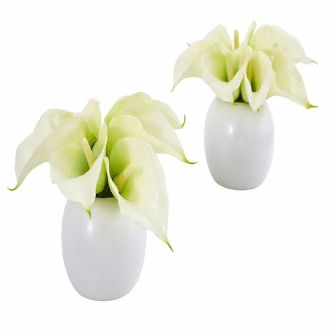 "5"" Calla Lily Artificial Arrangement in White Vase (Set of 2) - Cream"