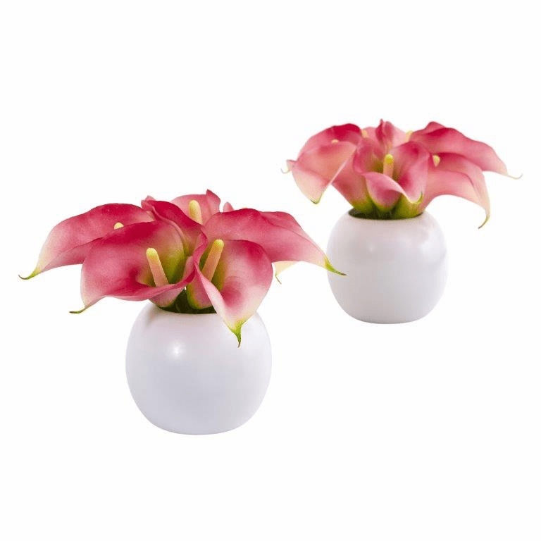 "5"" Calla Lily Artificial Arrangement in White Vase (Set of 2) - Pink"