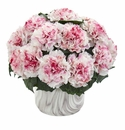 Carnation Artificial Arrangement in Marble Finished Vase - White Mauve