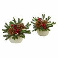 "7.5"" Christmas Inspired Artificial Arrangement in Ceramic Vase (Set of 2)"