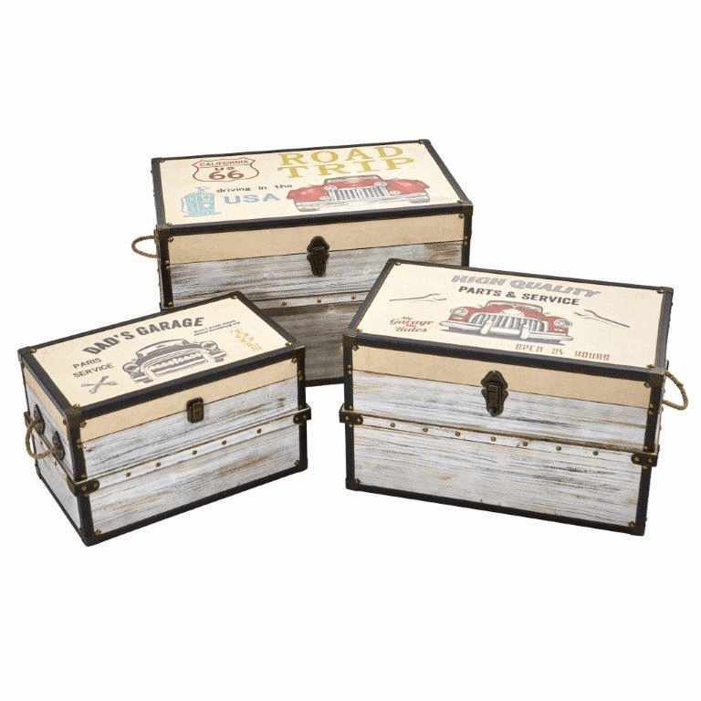 Classic Car Collection Trunk and Storage Boxes (Set of 3) -