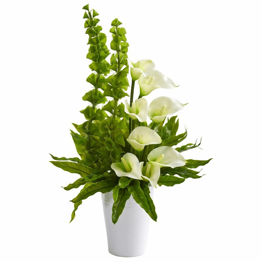 23� Cream Calla Lily and Bell of Ireland Artificial Arrangement