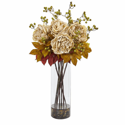 "36"" Cream Peony and Berries Artificial Arrangement in Large Cylinder Vase"