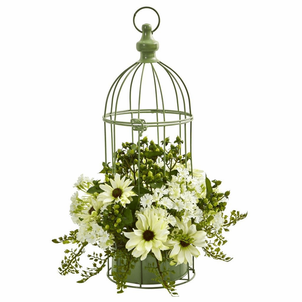 "19"" Cream Daisy Artificial Arrangement in Decorative Bird Cage"