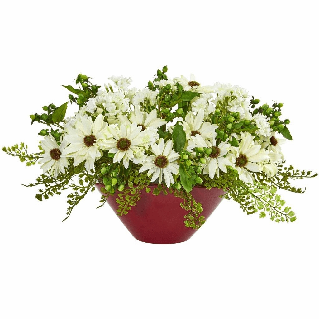"10"" Cream Daisy Artificial Arrangement in White Vase"