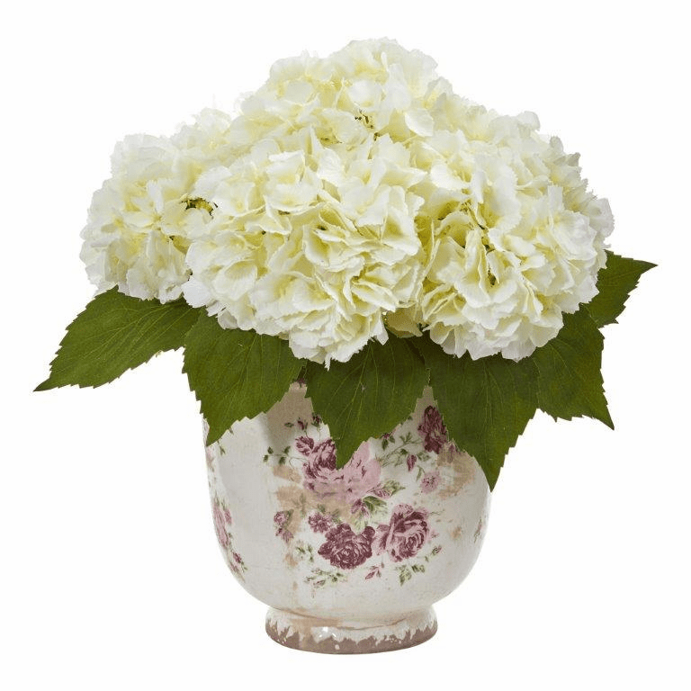 "14"" Cream Giant Hydrangea Artificial Arrangement in Floral Printed Vase"