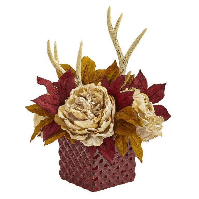 "17"" Cream Peony and Antlers Artificial Arrangement in Red Vase"