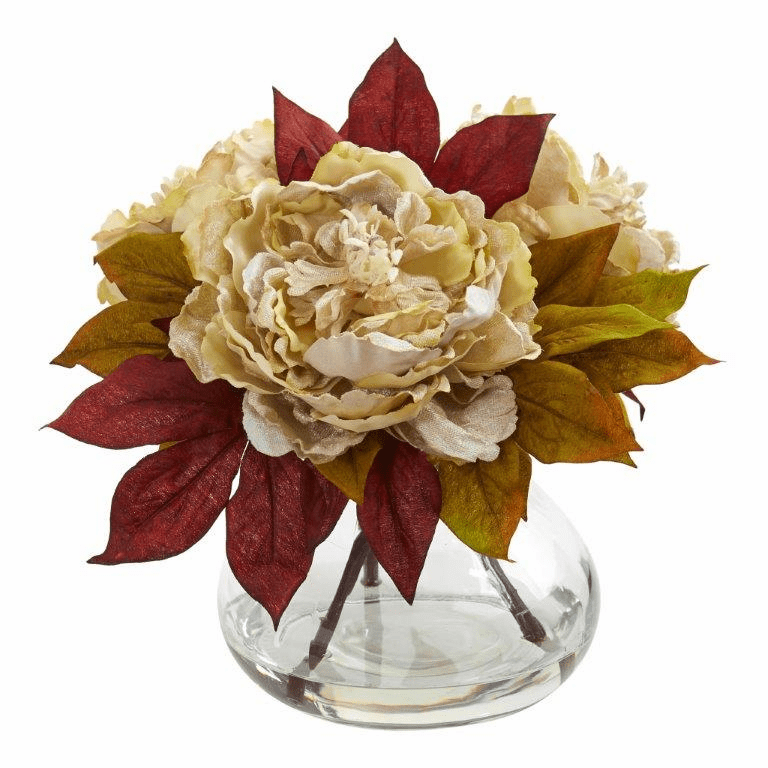 "10"" Cream Peony Artificial Arrangement"