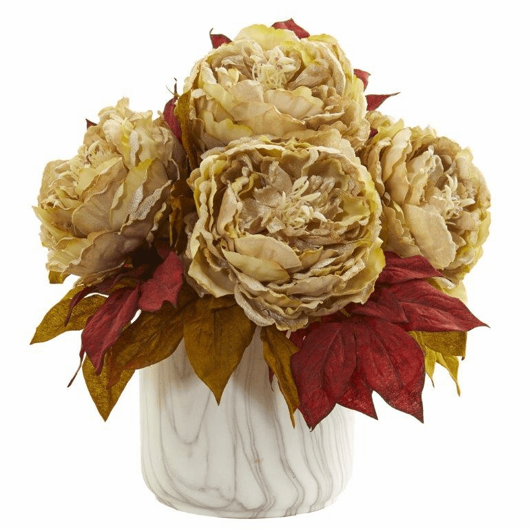 "12"" Cream Peony Artificial Arrangement in Marble Finished Vase"