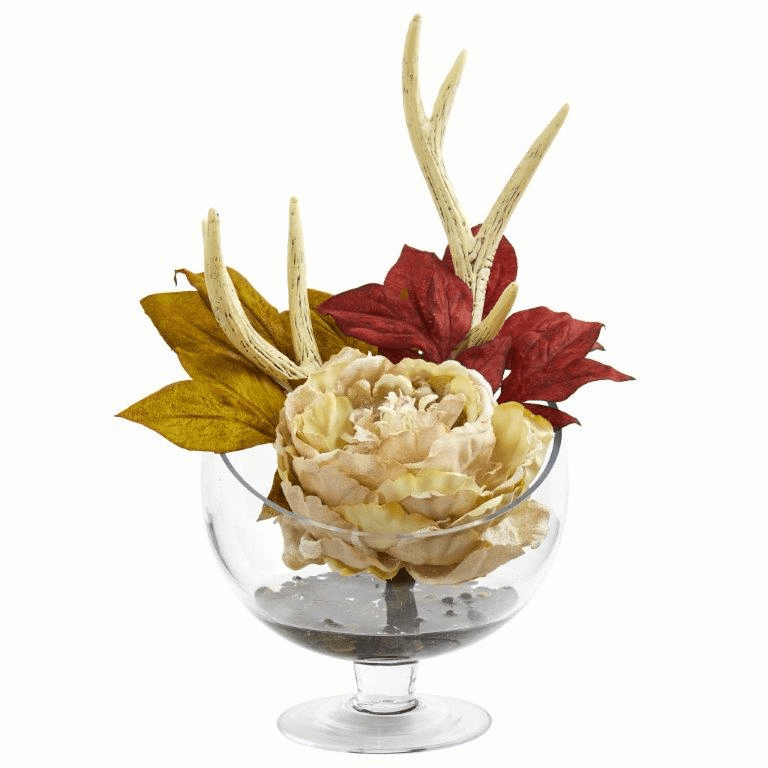 "15"" Cream Peony Artificial Arrangement in Pedestal Glass Vase"