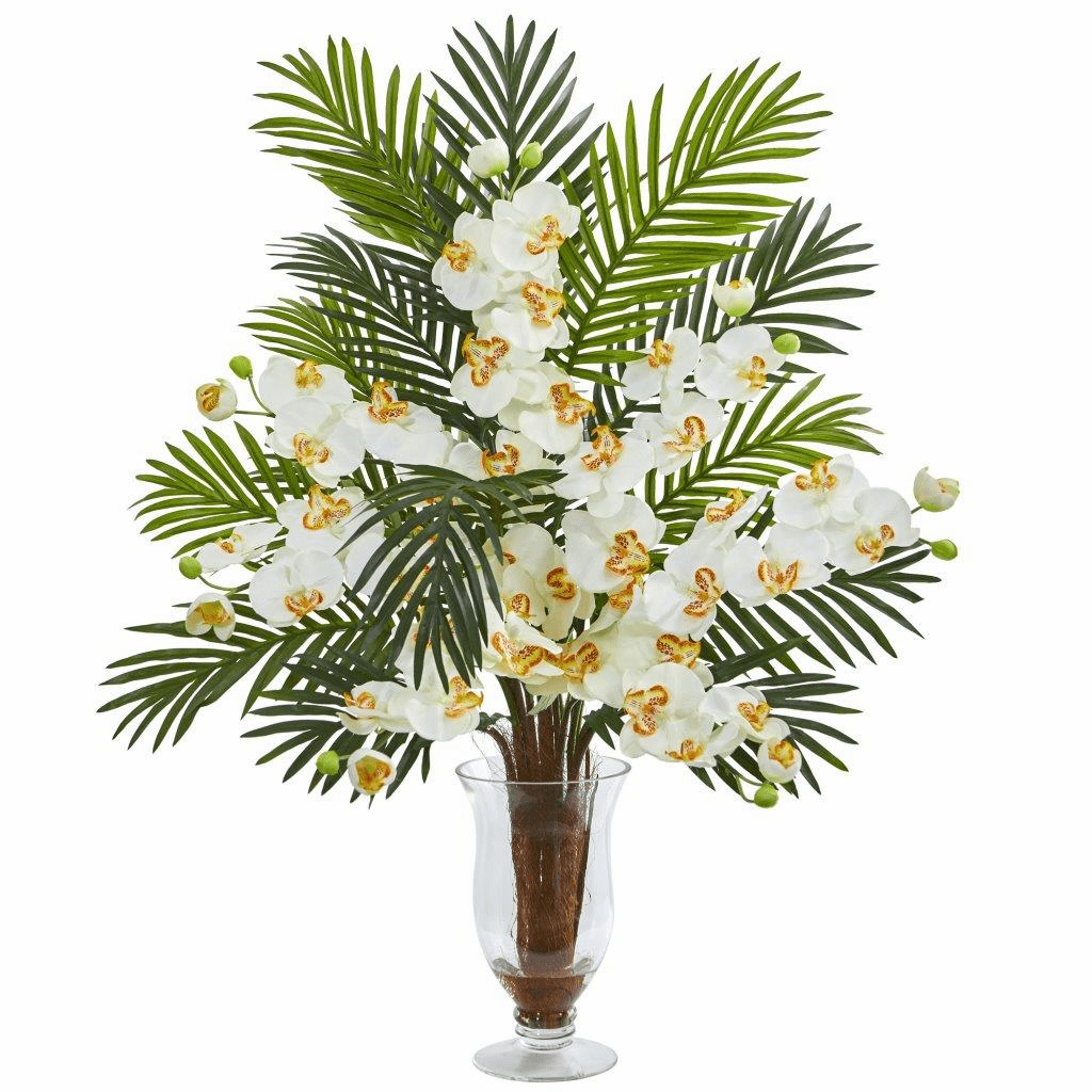 "30"" Cream Phalaenopsis Orchid and Areca Palm Artificial Arrangement"