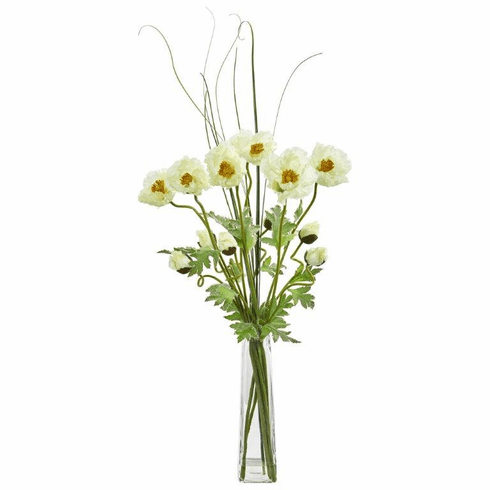 "36"" Cream Poppy and Grass Artificial Arrangement"