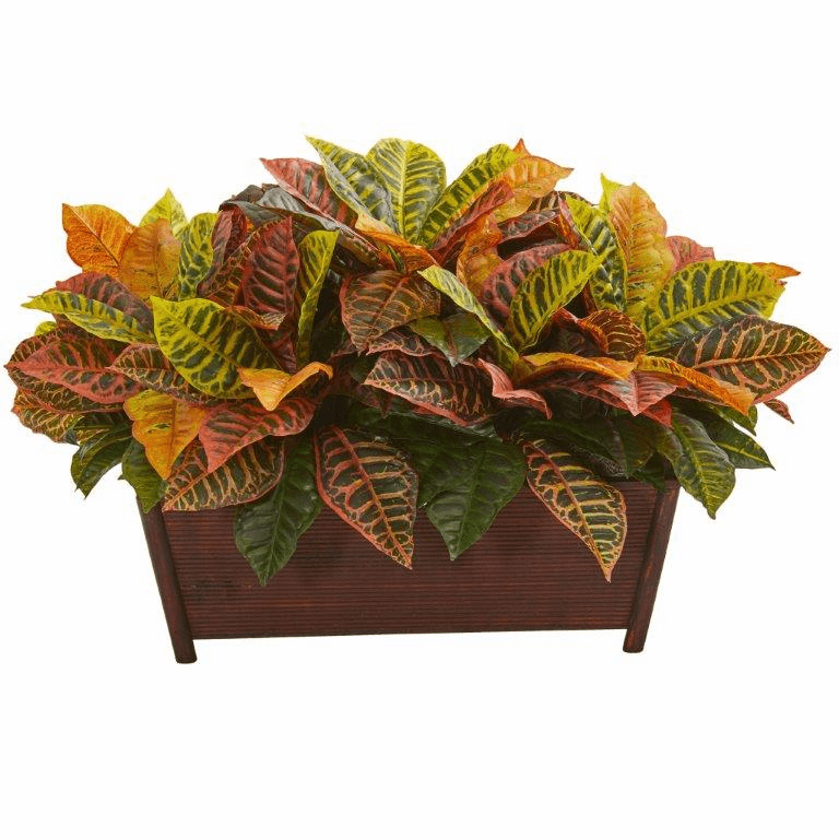 "18"" Croton Artificial Plant in Decorative Planter (Real Touch)"