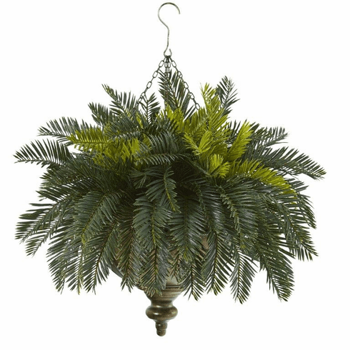 "25"" Cycas Artificial Plant in Metal Hanging Bowl"