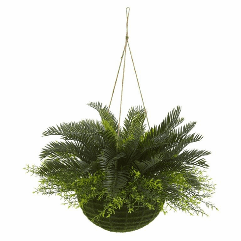 "13"" Cycas Artificial Plant in Mossy Hanging Basket (Indoor/Outdoor)"